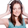 Girl With Headphones Singing On White Background — Stock Photo