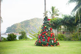 Christmas Tree On Beautiful Tropical Background — 图库照片