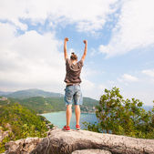 Winner on the mountain top. Sport and active life concept — Foto Stock