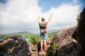 Winner on the mountain top. Sport and active life concept — Stockfoto