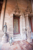 Buddhist temple door decoration in the capital of Vientiane, — Stock Photo
