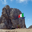 Italian flag on Marmolada mountain — Stock Photo