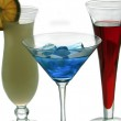 Three colorful coctail glasses — Stock Photo