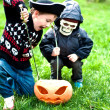 Stock Photo: Two boys wearing halloween costumes