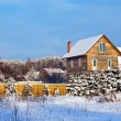 Stock Photo: Non-urbwinter landscape with wooden house