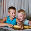 Two boys baking cookies — Stock Photo