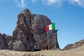 Italian flag on Marmolada mountain — Stock Photo