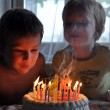 Stock Photo: Two boys blowing candles on birthday cake