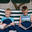 8-year old schoolboy and 6-year old preschooler reading books — Stock Photo