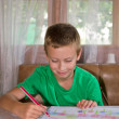 Young boy drawing and smiling — Stock Photo #12864823