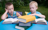 8-year and 6-year boys reading books — Stock Photo
