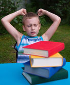 Angry boy hate reading — Stock Photo