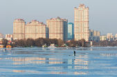 Fisherman in the spring on Moscow river — Stock Photo