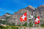 Swiss flags on San Bernardino pass — Stock Photo