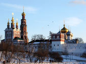 Novodevichy convent at sunset — Stock Photo