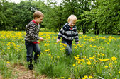 Two boys running in dandelion meadow — Stock Photo