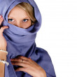 Stock Photo: Beautiful woman in blue scarf