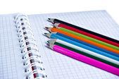 Notebook and color pencils — Fotografia Stock