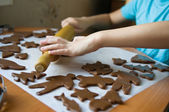 Boy baking cookies — Stock Photo