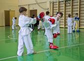 Taekwondo: boys fighting — Stock Photo