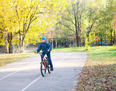 Child riding a bicycle in autumn park — Stockfoto