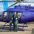 Family travelling by helicopter — Stock Photo