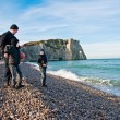 Family on the beach at Etretat, France — Stock Photo