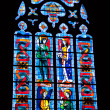 Stained glass in cathedral of Fougeres — Stock Photo
