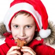 Boy eating gingerbread man. - Stock Photo