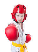 Young pretty boy exercising taekwondo — Stock Photo