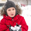 Boy and snow — Stock Photo