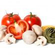 Tomatoes, mushrooms and pasta — Stock Photo #17662753