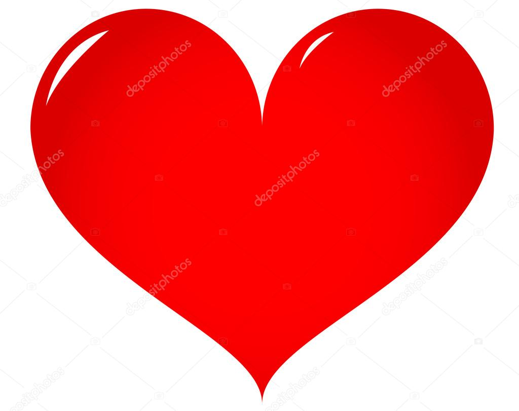 Red heart on white background, vector illustration — Stock Vector #17993299