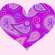 Stylized heart with abstract ornament in lilac and violet colors — Stock Vector #18427533