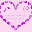 Stylized heart with abstract ornament in lilac and violet colors — Stock Vector