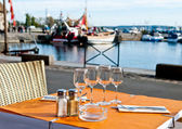 Outdoor dinner setting in Honfleur, France — Stock Photo