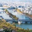 Aerial view of Paris. Seine river. Autumn. - Stock Photo