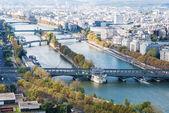 Aerial view of Paris. Seine river. Autumn. — Stock Photo