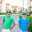 Stock Photo: Two boys in neighborhood
