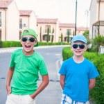 Two boys in the neighborhood — Stock Photo