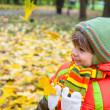 Stock Photo: Happy child in autumn park
