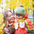Stock Photo: Happy family smiling and holding autumn leaves
