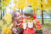 Família feliz sorrir e segurando folhas de outono — Fotografia Stock