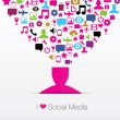 Social media icons background — Stock Vector