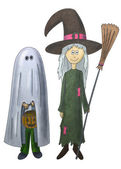 Ghost and witch — Stock Photo