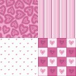 Stock Vector: Set of seamless patterns with hearts