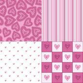 Conjunto de patrones sin fisuras con corazones — Vector de stock