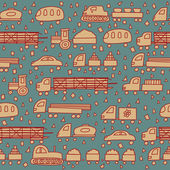 Seamless pattern with fun transport — Stock Vector