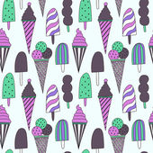 Seamless pattern with ice cream — Stock Vector