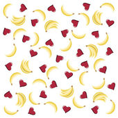 Seamless pattern with hearts and bananas — Stock Vector